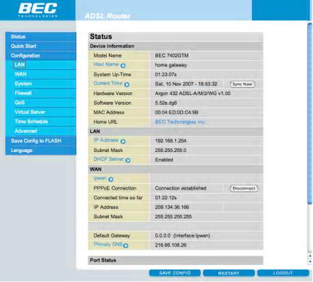 Enable Wireless on the BEC Modem - Step 5
