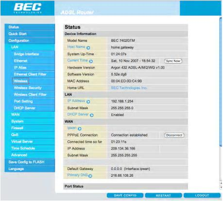 Enable Wireless on the BEC Modem - Step 6