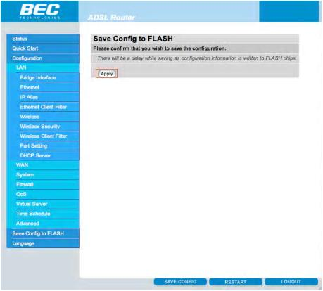 Enable Wireless on the BEC Modem - Step 9