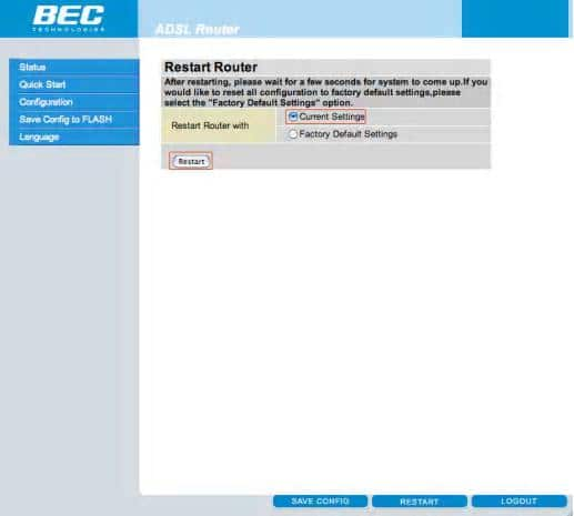 Enable Wireless on the BEC Modem - Step 11