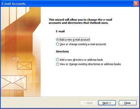 On the E-mail Accounts wizard window select Add a new e-mail account and click Next.
