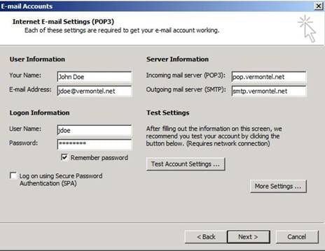 On the Internet E-mail Settings (POP3) window enter your information.