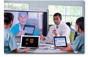 Medical professionals videoconferencing